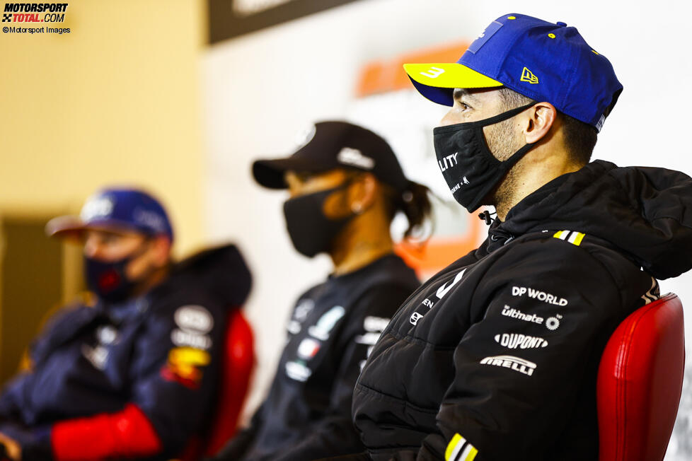 Daniel Ricciardo (Renault), Lewis Hamilton (Mercedes) und Max Verstappen (Red Bull)