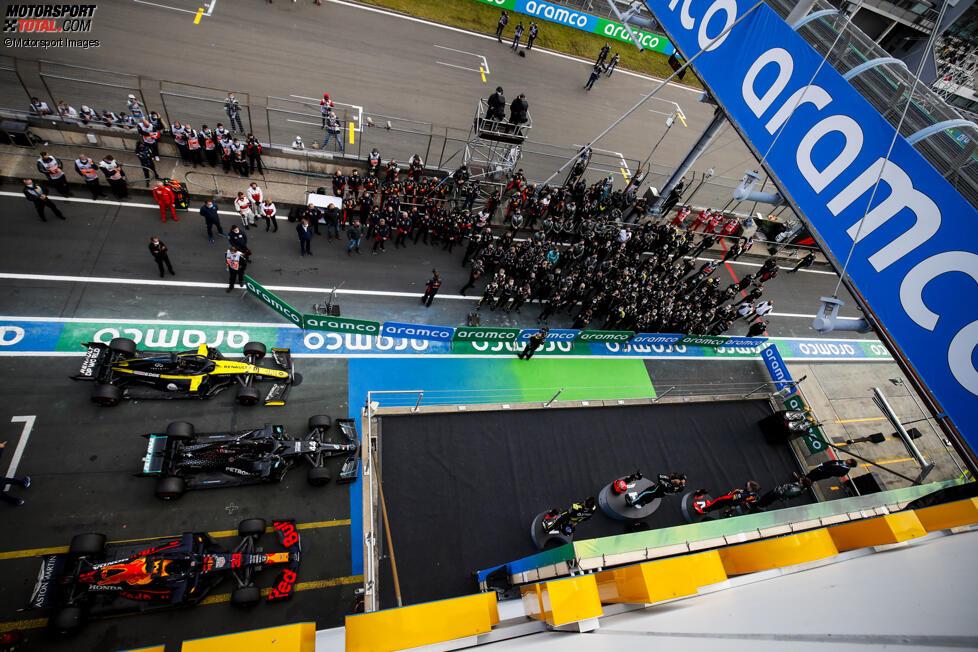 Lewis Hamilton (Mercedes), Max Verstappen (Red Bull) und Daniel Ricciardo (Renault)