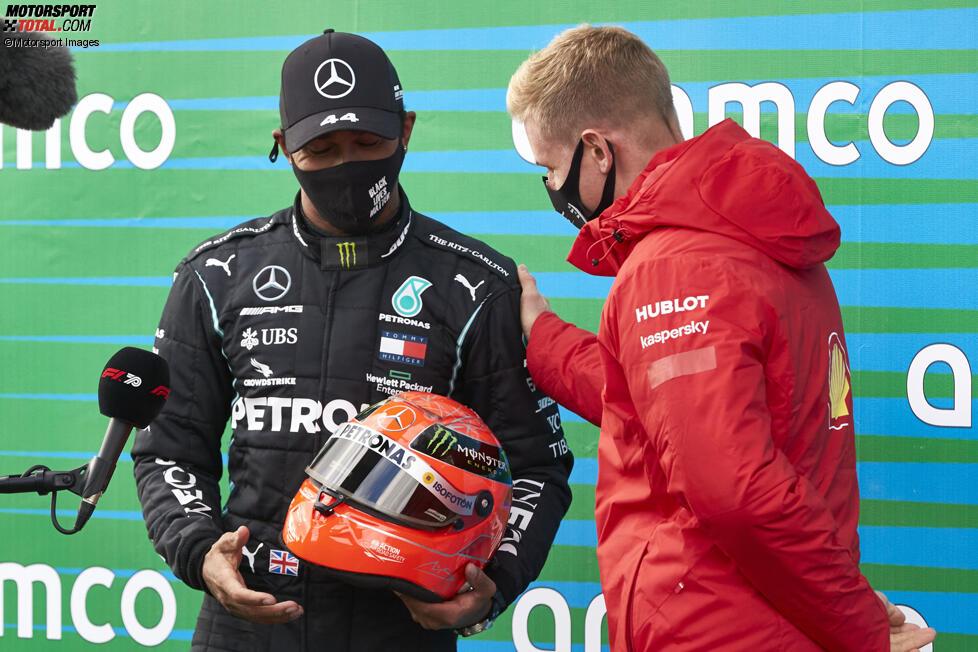 Mick Schumacher, Lewis Hamilton (Mercedes) und Michael Schumacher