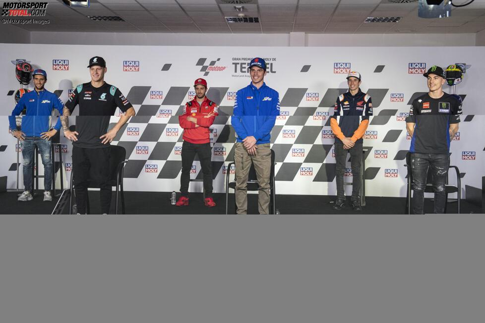 Alex Rins (Suzuki), Fabio Quartararo (Petronas), Andrea Dovizioso (Ducati), Joan Mir (Suzuki), Alex Marquez (Honda) und Maverick Vinales (Yamaha)