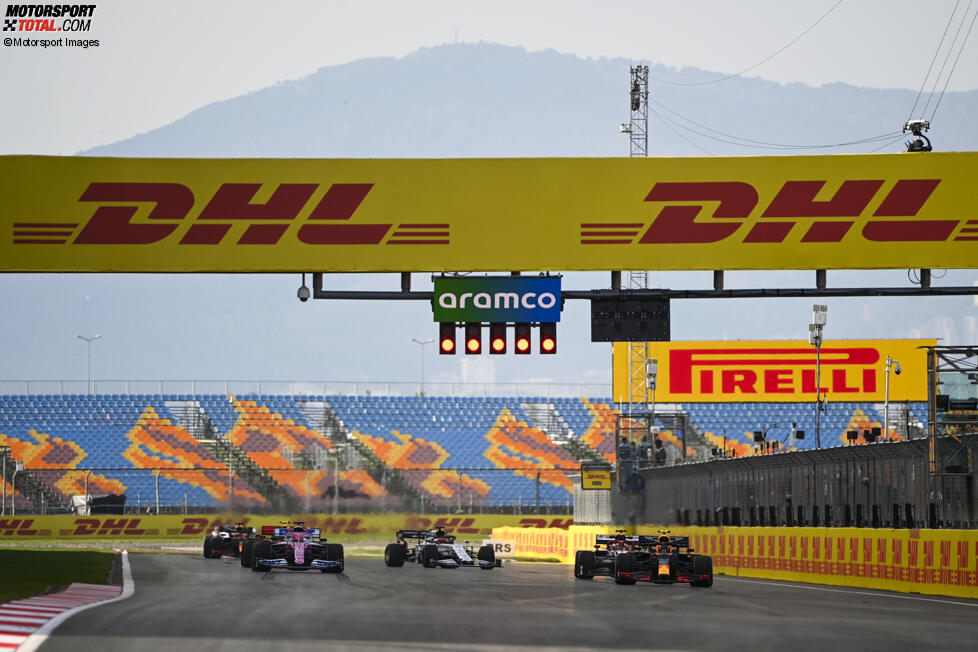Alexander Albon (Red Bull), Sergio Perez (Racing Point), Kimi Räikkönen (Alfa Romeo) und Daniil Kwjat (AlphaTauri)