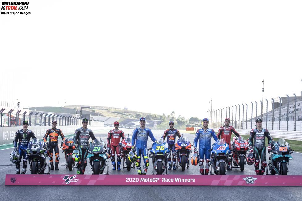 Maverick Vinales (Yamaha), Brad Binder (KTM), Franco Morbidelli (Petronas), Andrea Dovizioso (Ducati), Joan Mir (Suzuki), Miguel Oliveira (Tech 3), Alex Rins (Suzuki), Danilo Petrucci (Ducati) und Fabio Quartararo (Petronas)