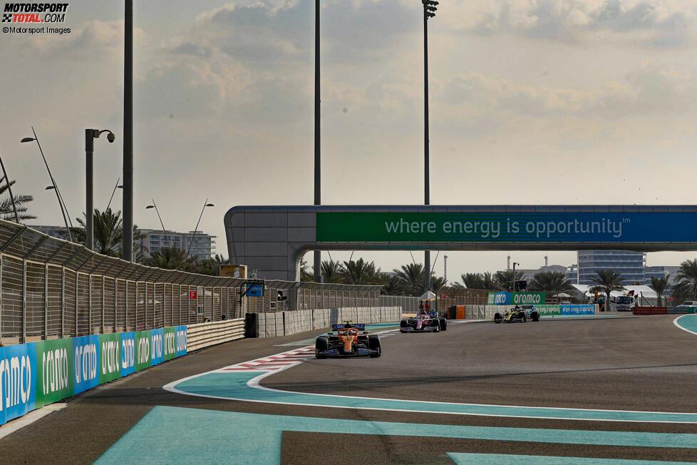 Lando Norris (McLaren), Sergio Perez (Racing Point) und Daniel Ricciardo (Renault)