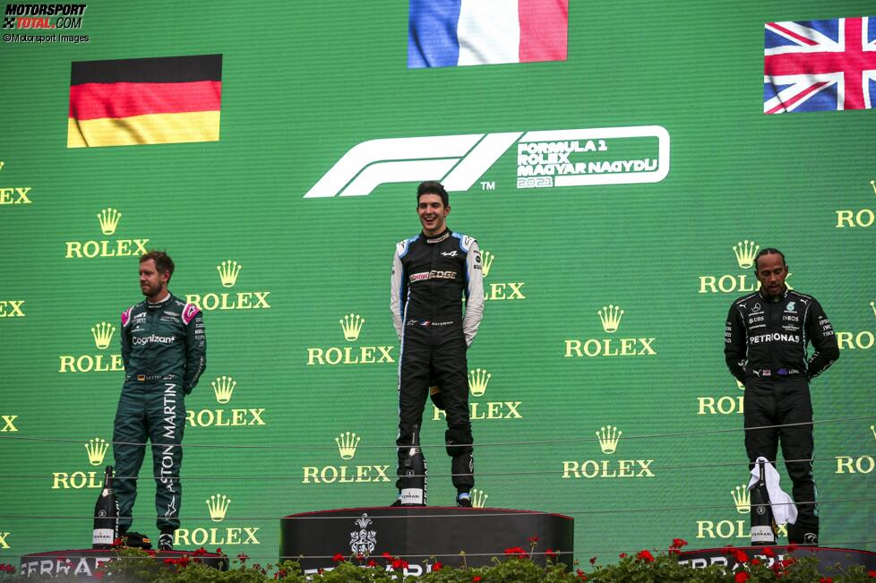 Sebastian Vettel (Aston Martin), Esteban Ocon (Alpine) und Lewis Hamilton (Mercedes)
