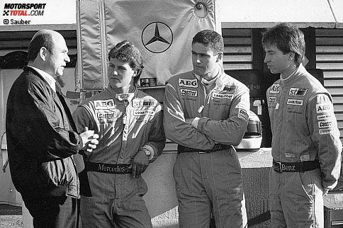"""""""Würden Sie diesen Männern Ihren Mercedes anvertrauen?"""", fragte ein Werbeslogan der Stuttgarter Marke mit dem Stern 1990, als das Trio in der Sportwagen-WM für das Sauber-Mercedes-Team an den Start ging. Michael Schumacher war in der Deutschen Formel-3-Meisterschaft 1989 mit 163 Punkten """"nur"""" Dritter geworden - punktgleich mit Heinz-Harald Frentzen und einen Zähler hinter Karl Wendlinger. Doch während die beiden anderen Mercedes-Junioren von damals nie den weltmeisterlichen Durchbruch schafften, sollte der Kerpener gleich siebenmal Formel-1-Champion werden."""