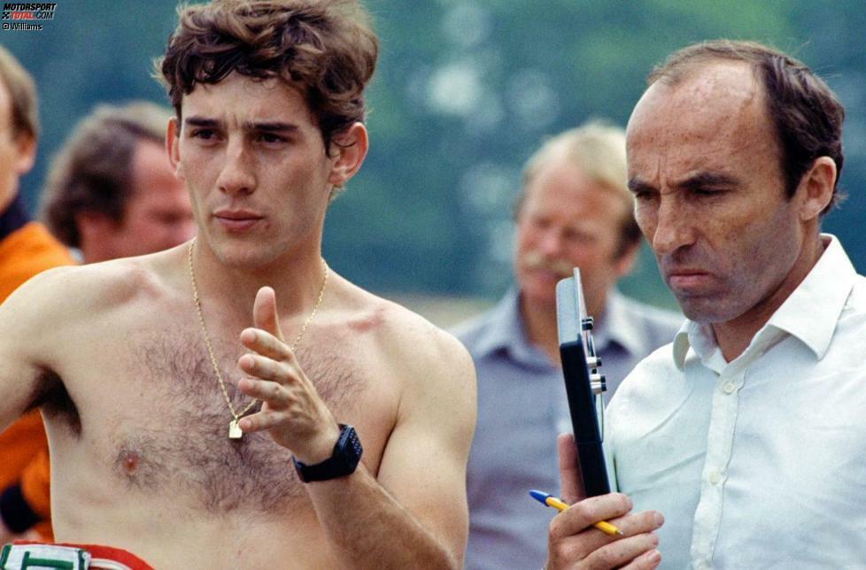 Frank Williams (rechts) möchte den jungen Brasilianer gern verpflichten, hat aber kein Cockpit frei. Also dockt Senna 1984 bei Toleman an, dem Vorläufer-Team von Benetton, Renault und, seit dieser Saison, Lotus.