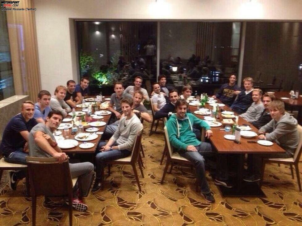 Das jährliche Abendessen der Fahrergewerkschaft stellt wie schon vergangenes Jahr den Auftakt des Südkorea-Wochenendes dar. Von den Topstars fehlen nur Lewis Hamilton und Kimi Räikkönen.