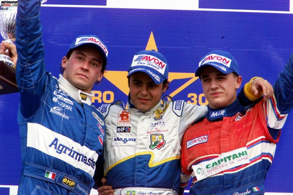 Erstmals aufgefallen ist Felipe Massa bereits 2001, als er in der Europäischen Formel 3000 alles in Grund und Boden fuhr. Der Zweitplatzierte in der Meisterschaft, Thomas Biagi (l.), hatte zu Saisonende nur halb so viele Punkte auf dem Konto wie Massa. Das brachte ihm...