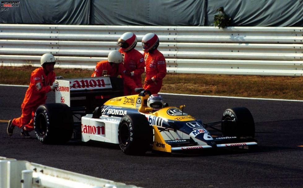 1987: Nigel Mansell kommt mit zwölf Punkten Rückstand auf Nelson Piquet zum vorletzten Saisonrennen, dem ersten Grand Prix überhaupt auf der japanischen Strecke. Doch Mansell fliegt im Training in den S-Kurven ab, zieht sich Rückenprellungen zu und muss am Sonntag tatenlos dabei zusehen, wie sein gehasster Williams-Teamkollege trotz eines Honda-Motorschadens kampflos Weltmeister wird.