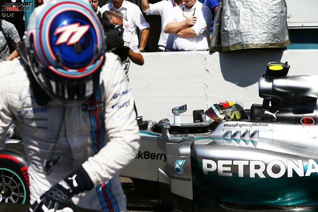 Pole-Position beim Heimspiel: Nico Rosberg holt sich in Hockenheim souverän den ersten Startplatz, nachdem Hauptkonkurrent Lewis Hamilton bereits in Q1 heftig in der Sachskurve rausgeflogen war. Die Plätze zwei und drei gehen an die beiden Williams-Piloten Valtteri Bottas und Felipe Massa.