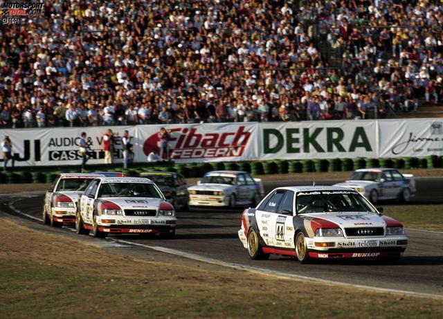 Mit 41 Prozent auf dem souveränen ersten Platz: die frühen 1990er-Jahre. Mit Stars wie Klaus Ludwig, Hans-Joachim Stuck oder Jonny Cecotto startete die DTM in dieser Zeit richtig durch. Selbst ein gewisser Michael Schumacher mischte damals mal mit. Und mit Ellen Lohr stand erstmals eine Frau ganz oben auf dem DTM-Siegertreppchen.