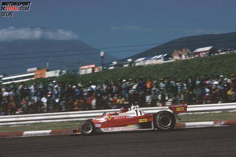 1977 gastiert die Formel 1 erneut am Mount Fuji. Ferrari-Pilot Gilles Villeneuve crasht schwer. Beim Abflug des 312T2 kommen zwei Personen - ein Streckenposten und ein Fotograf - ums Leben. Das Rennen gewinnt James Hunt (McLaren).