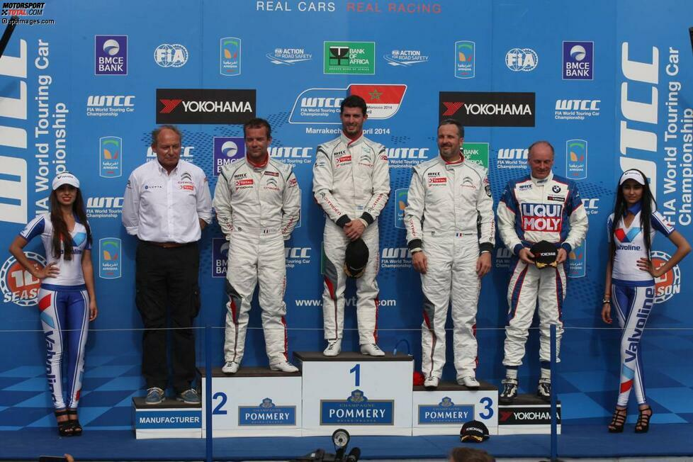 Marrakesch (Marokko), 13. April 2014: Sebastien Loeb (Citroen/2.), Jose-Maria Lopez (Citroen/1.), Yvan Muller (Citroen/3.) und TC2-Sieger Franz Engstler (Engstler-BMW)