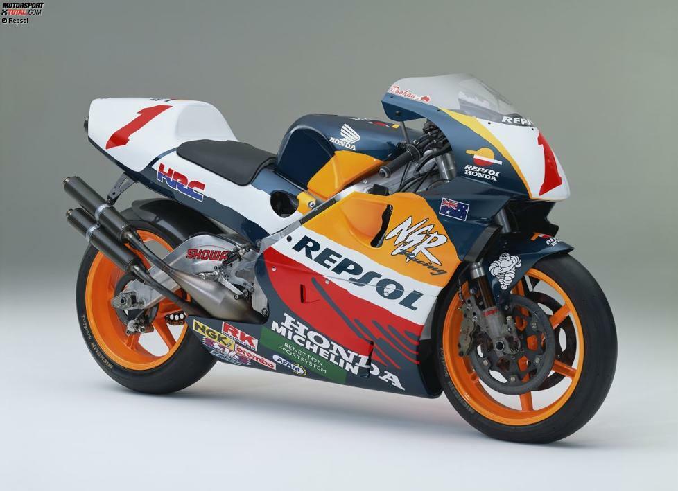 Honda NSR500 (Jahrgang 1995): über 180 PS Leistung - 130 Kilogramm - 32 Liter Kraftstoff - Fahrer: Mick Doohan (Weltmeister), Alex Criville (WM-Vierter), Shinicho Ito (WM-Fünfter)