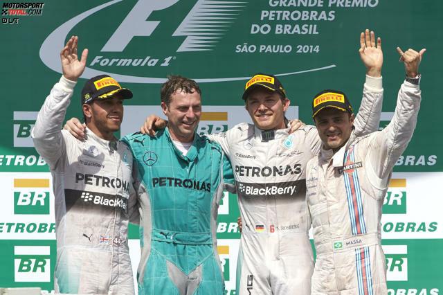Die Formel-1-WM 2014 bleibt spannend! Nico Rosberg gewinnt den Grand Prix von Brasilien und macht damit sieben Punkte auf Lewis Hamilton gut. Wie es dazu kam, erzählen wir in 22 spektakulären Fotos nach.