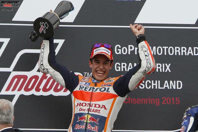 Er bleibt der König des Sachsenrings: Marc Marquez feiert 2015 seinen sechsten Deutschland-Sieg in Serie, seit 2010 ist er hier ungeschlagen.