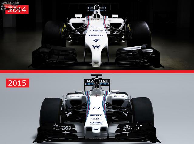 Sofort auffallend im Vergleich Williams FW37 gegen FW36: Neue Nase, kurviger gestaltete Lufteinlässe der Seitenkästen
