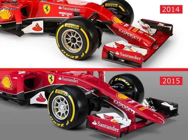 Das neue Arbeitsgerät von Sebastian Vettel und Kimi Räikkönen besticht durch eine vollkommen neue Nase - ohne Stummel oder