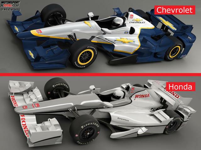 IndyCar Aero-Kits 2015: Chevrolet vs. Honda - Frontansicht