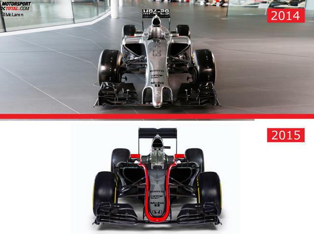 Die Frontansicht zeigt: Die Lufteinlässe der Seitenkästen sind voluminöser - ein Hinweis auf den hohen Kühlungsbedarf des neuen Honda-Motors? Auch anders: Die Airbox hat unten eine Delle und ist sichtbar zweigeteilt.