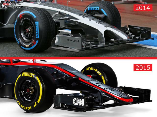 Schluss mit dem Ameisenbär! Die neue Nase des McLaren-Honda MP4-30 für die Formel 1 2015 kommt wie beim Lotus ohne Stummelnase aus - im Gegensatz zu Williams und Force India.