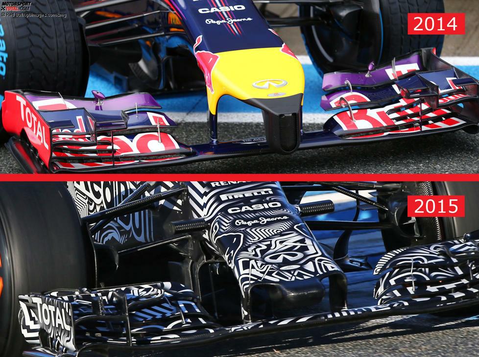 Der neue RRB 11 reitet bei den Jerez-Tests als Erlkönig über die Strecke - und doch kann man wenigstens an der Nase erkennen, dass sich im Vergleich zum Vorjahreswagen RB10 etwas getan hat.