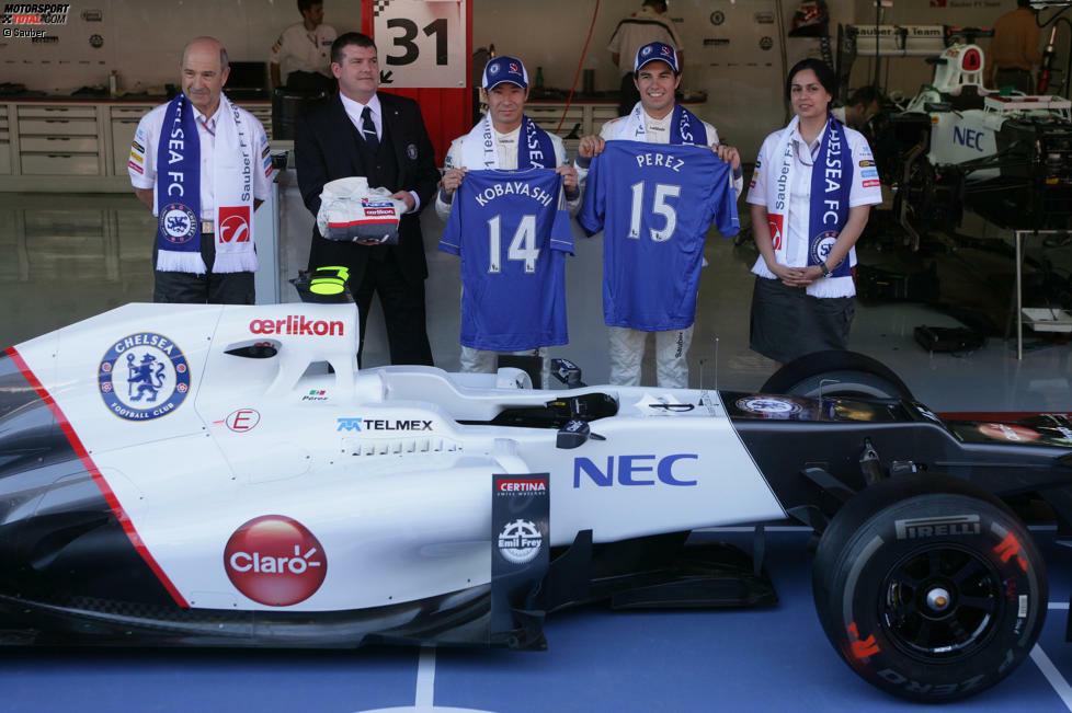 #10 Sauber & Chelsea FC: Seit dem Jahr 2012 sind das Schweizer Formel-1-Team und die Londoner Fußballmannschaft Partner. Die Idee hinter dem Deal ist, beiden Marken Präsenz außerhalb ihres Kernpublikums zu verschaffen und Know-how auszutauschen. Eigentümer des Chelsea FC ist übrigens der russische Milliardär Roman Abramowitsch, den Bernie Ecclestone jahrelang vergeblich von einem Formel-1-Engagement überzeugen wollte.