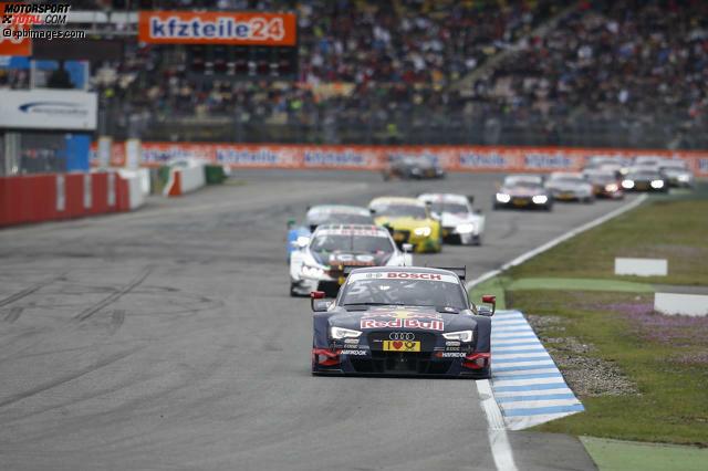 Die meisten Führungsrunden absolvierte Mattias Ekström (Abt-Sportsline-Audi). Er dominierte das Sonntagsrennen am Hockenheimring. Nach 35 Runden passierte der Schwede mit komfortablen Abstand zu Verfolger und Markenkollege Edoardo Mortara (Abt-Audi) die Ziellinie. Satte 29 Runden führte er das Fahrerfeld am Sonntag an.