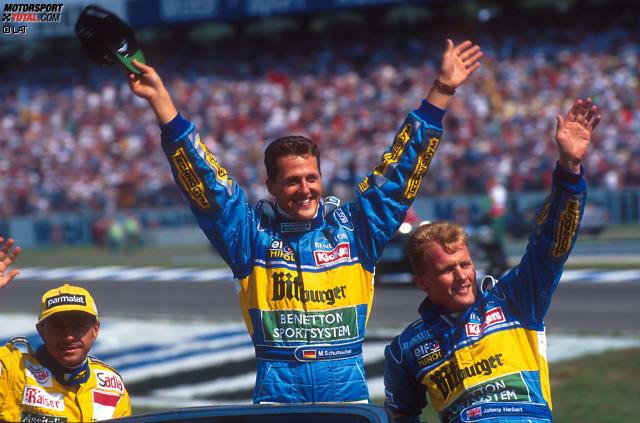 Platz 10 - Johnny Herbert: Die Formel-1-Karriere des smarten Briten verläuft wechselhaft, ist aber nicht ohne Erfolge. Bei 161 Grand-Prix-Starts steht er sieben Mal auf dem Podium und gewinnt drei Rennen, zwei davon 1995 als Teamkollege von Michael Schumacher bei Benetton.