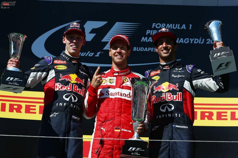 Drei Helmut-Marko-Schützlinge auf dem Podium: Daniil Kwjat (Red Bull), Sebastian Vettel (Ferrari) und Daniel Ricciardo (Red Bull) widmen ihren Erfolg auf dem Hungaroring dem verstorbenen Kollegen Jules Bianchi.