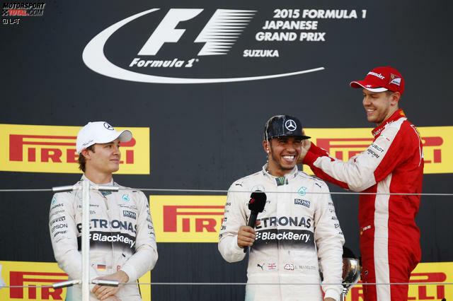 Jetzt ist er so groß wie Ayrton Senna: Lewis Hamilton gewinnt in Suzuka seinen 41. Grand Prix, braucht dafür nur um ein Rennen mehr als sein großes Vorbild (nämlich 162) - und auch der dritte WM-Titel in der Formel 1 ist jetzt nur noch Formsache. Aber Sebastian Vettel (42 Siege, vier WM-Titel) macht ihn auf dem Podium trotzdem nass.