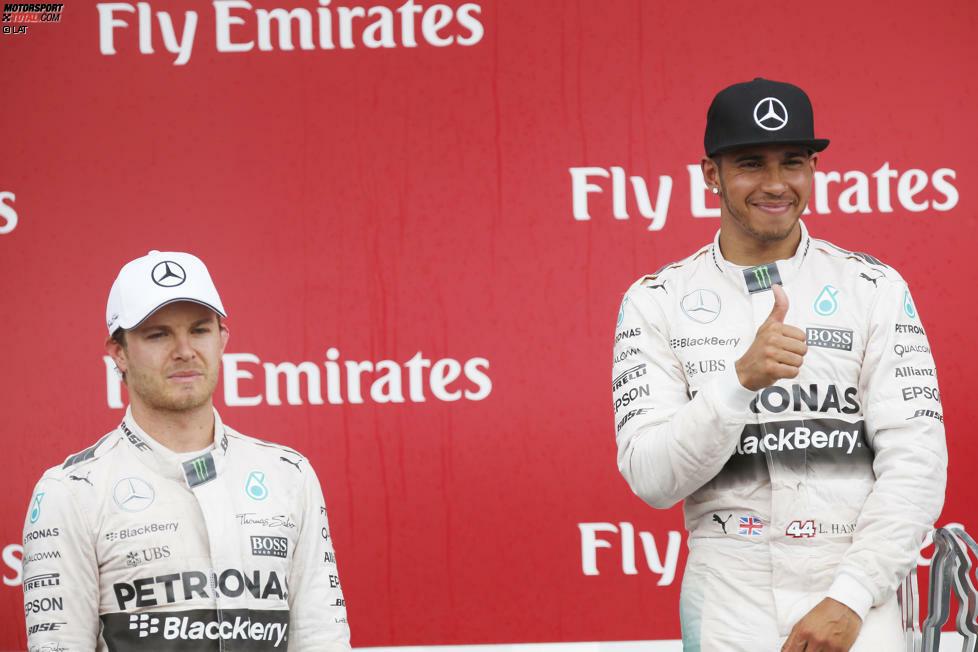 Nach zweimal Nico Rosberg hat nun wieder Lewis Hamilton das Siegerlächeln: Mit dem Triumph beim Grand Prix von Kanada macht der Mercedes-Pilot das Strategie-Malheur von Monaco vergessen.