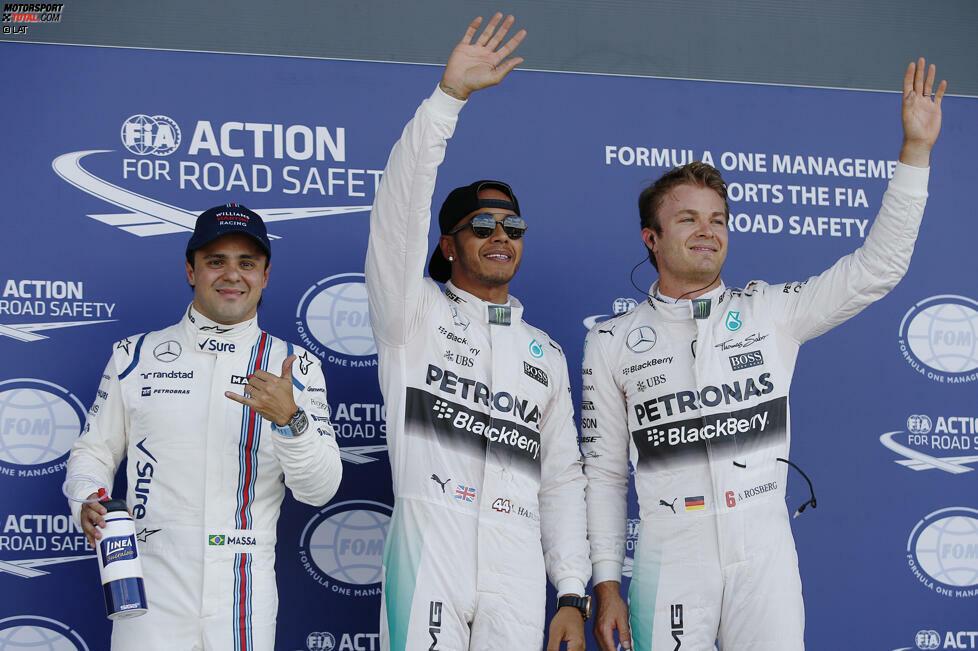 Die beginnt schon am Samstag: Trotz Rosberg-Bestzeiten in Q1 und Q2 sichert sich Hamilton die 46. Pole-Position seiner Karriere und macht sich damit zum besten Qualifyer im aktuellen Starterfeld.