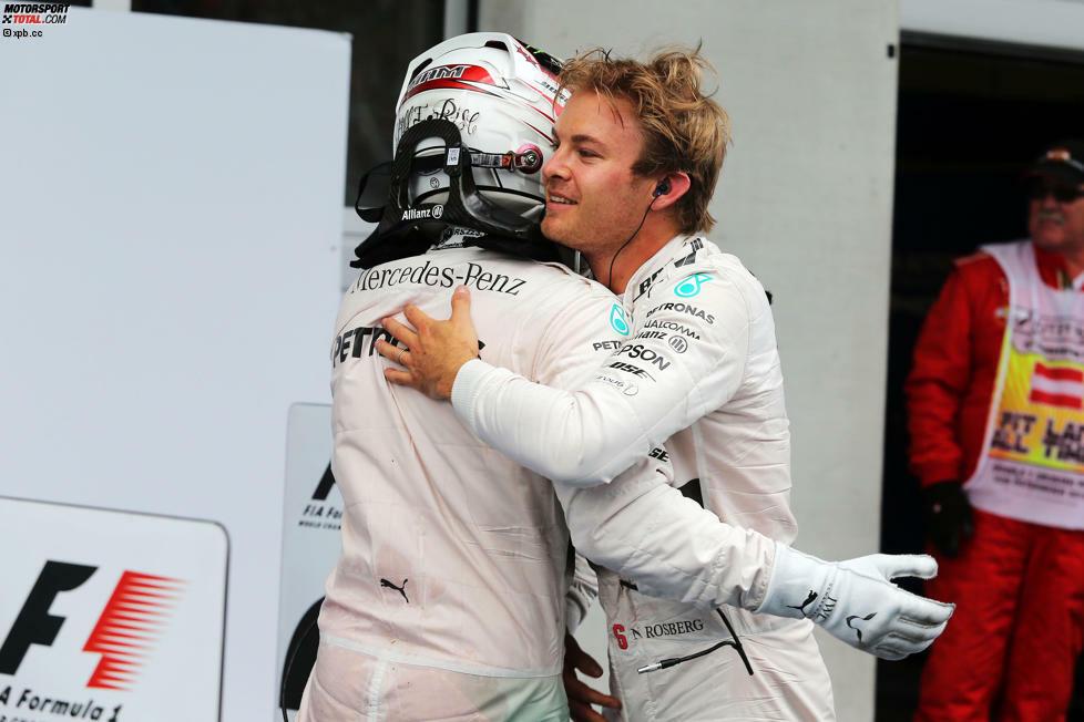 Immer dann, wenn es scheint, als mache Nico Rosberg in der Formel-1-Weltmeisterschaft 2015 keinen Stich mehr, wird's doch wieder spannend: Sieg beim Grand Prix von Österreich in Spielberg - und WM-Leader Lewis Hamilton bleibt nichts anderes übrig, als zur starken Leistung neidlos zu gratulieren.