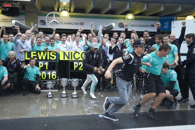 Lewis Hamilton feiert in Brasilien den 52. Grand-Prix-Sieg seiner Karriere und zieht in der ewigen Siegerliste ausgerechnet in Ayrton Sennas Heimat an Alain Prost vorbei. Mit einer dominanten Vorstellung am ganzen Wochenende verkürzt er den Rückstand auf Nico Rosberg vor dem letzten Rennen auf zwölf Punkte.