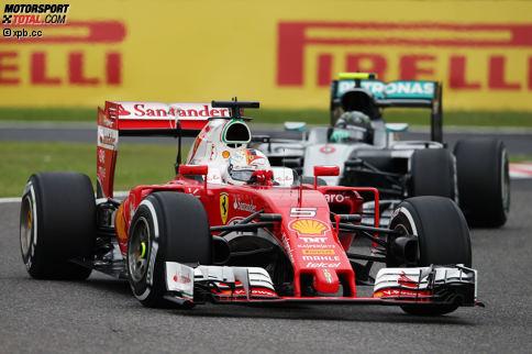 Ferrari ist im Qualifying (Rosberg holt Pole, 0,013 Sekunden vor Hamilton) dank einiger Updates gut unterwegs, fährt auf die Positionen drei (Kimi Räikkönen) und vier (Sebastian Vettel). Aber Vettel wird wegen der Startkollision in Malaysia auf P6 versetzt, Räikkönen wegen eines Getriebewechsels erst am Sonntagmorgen auf P8.