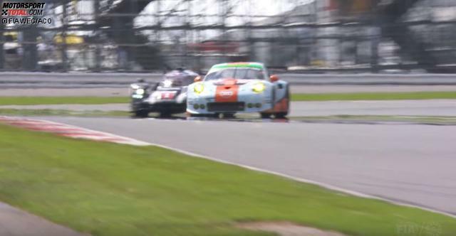 Mit etwas 250 km/h läuft Brendon Hartley mit seinem 919 Hybrid in Runde 71 auf einen GT auf