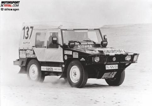 Im Jahr 1980 setzt Volkswagen erstmals eine Duftmarke im Rallyesport. Freddy Kottulinsky und Gerd Löffelmann holen in einem Iltis für die Wolfsburger den ersten Gesamtsieg bei der Rallye Dakar.