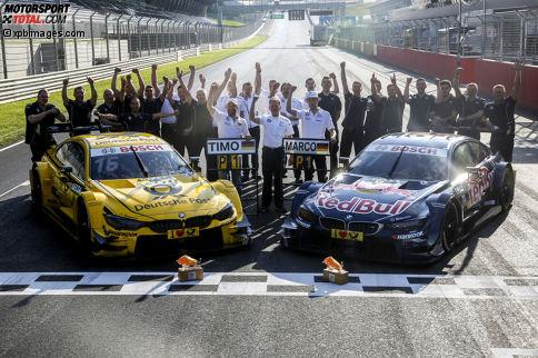 Spielberg 2016, Rennen 1: BMW-Pilot Marco Wittmann lässt seine Mannschaft über den Start-Ziel-Sieg in der Steiermark jubeln.