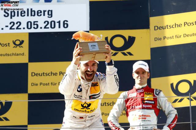 Spielberg 2016, Rennen 2: Timo Glock (BMW) gewinnt sein erstes DTM-Rennen am Red-Bull-Ring und jubelt über seinen einzigen Saisonsieg 2016.