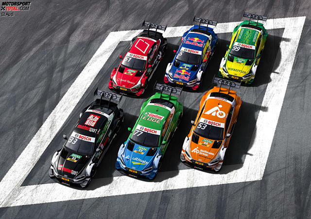 Wie alle Hersteller schickt auch Audi in der DTM-Saison 2017 nur noch sechs Autos an den Start. Wir zeigen, welcher Pilot in welchen Farben an den Start geht!