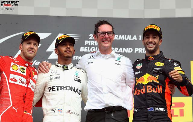 Es sind nur noch sieben Punkte: Lewis Hamilton feiert in Spa seinen fünften Sieg im zwölften Saisonrennen und rückt Sebastian Vettel im WM-Kampf auf die Pelle. Mercedes ist in Spa aber weniger dominant, als Sportchef Toto Wolff auf der Hochgeschwindigkeitsstrecke gehofft hätte.