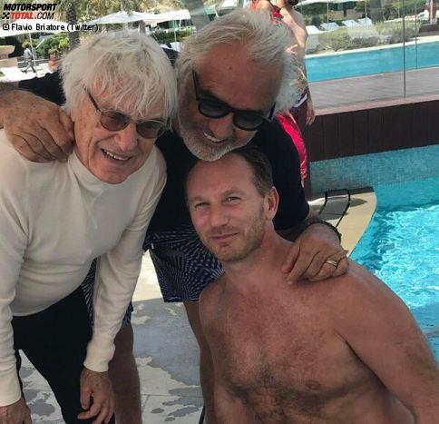 """Unter dem Hashtag """"Zeit für Freunde"""" postet Flavio Briatore von Bahrain aus dieses Foto, das ihn mit Bernie Ecclestone und Christian Horner zeigt. Was viele nicht wissen: Briatore hat kürzlich Ecclestones Abschiedsparty geschmissen, und Horner war bei der Hochzeit des entmachteten Formel-1-Chefs mit Fabiana Trauzeuge."""