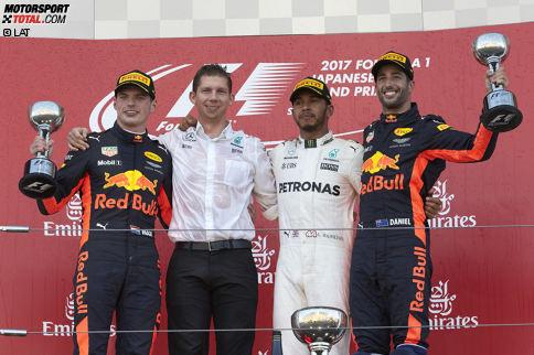 """Jetzt wird's für Sebastian Vettel richtig schwierig: Lewis Hamilton gewinnt den Grand Prix von Japan und baut seinen Vorsprung in der WM auf 59 Punkte aus. Bei 100 noch zu vergebenden Punkten """"ein Riesenschritt"""", wie Niki Lauda sagt."""