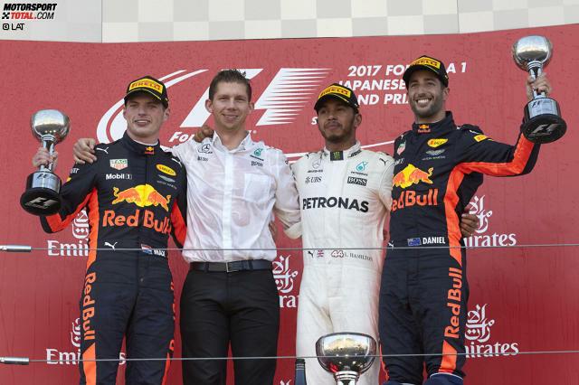 Jetzt wird's für Sebastian Vettel richtig schwierig: Lewis Hamilton gewinnt den Grand Prix von Japan und baut seinen Vorsprung in der WM auf 59 Punkte aus. Bei 100 noch zu vergebenden Punkten