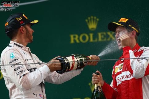 """""""In your face!"""" Lewis Hamilton schlägt nach der Niederlage gegen Sebastian Vettel beim Saisonauftakt in Australien zurück und gewinnt den Grand Prix von China. Aber die wichtigste Erkenntnis in Schanghai ist: Ferrari hat 2017 ein Siegerauto - und diese beiden Herren fighten um den WM-Titel."""