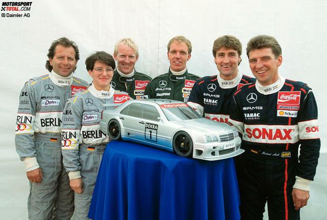 Auf diesem Bild haben sich sechs DTM-Rennsieger versammelt, doch nur zwei von ihnen vollbringen in ihrer Karriere das Kunststück, in der Tourenwagenserie für mehr als eine Marke zu gewinnen. Wir blicken auf die elitäre Gruppe von Piloten, die in der DTM im Laufe der Jahre mit verschiedenen Marken erfolgreich sind.