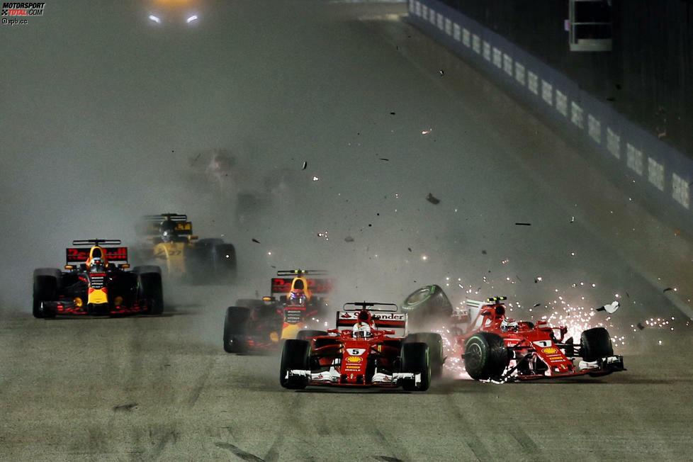 Wie gewonnen, so zerronnen: Als Favorit ins Wochenende gestartet, platzt Sebastian Vettels Traum vom fünften Sieg in Singapur schon am Start. Jacques Villeneuve findet: