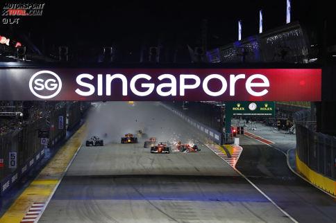 Startchaos in Singapur: Zunächst sieht alles nach einem normalen Start aus: Verstappen kommt besser weg als Vettel, Räikkönen besser als beide.