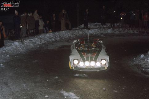 Rallye Sanremo 1976: Björn Waldegard gewinnt 4,0 Sekunden vor seinem Lancia-Teamkollegen Sandro Munari. (Anm.: Foto von der Rallye Monte Carlo aus jenem Jahr).